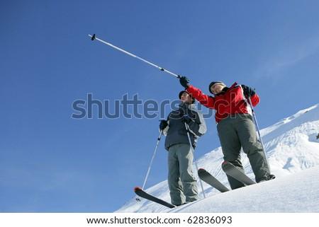 Man skiing - stock photo