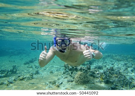 Man snorkeling in Red Sea - Egypt - stock photo