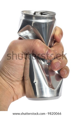 man squeezing a  drink can  clipping path included - stock photo