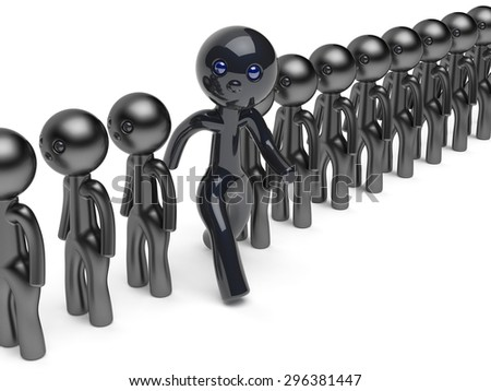 Man stand out from the crowd different character people think differ unique person otherwise run to new opportunities concept individuality referendum vote icon black 3d render isolated - stock photo
