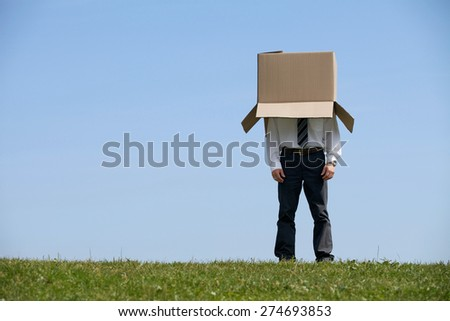 Man standing in park with cardboard box over his head - stock photo