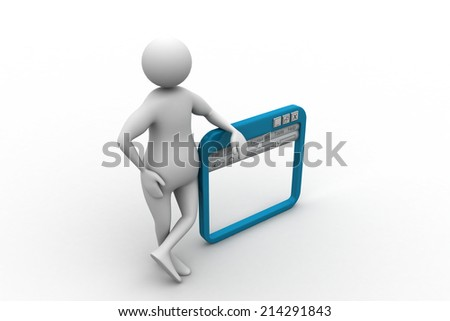 Man standing near the  internet browser - stock photo