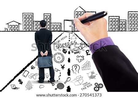 Man standing on a road with business doodles while looking at the success door - stock photo