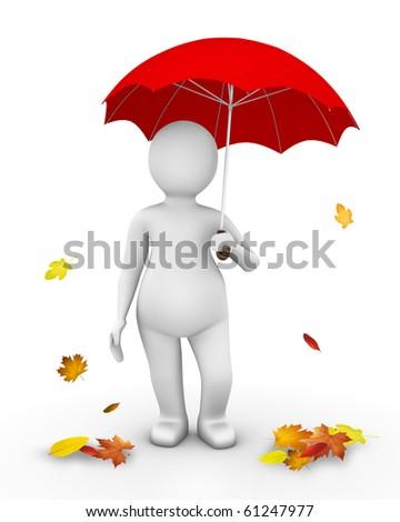 Man standing under red umbrella - stock photo