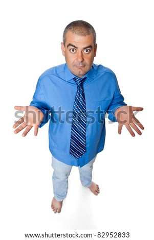 Man stands barefoot  view from above isolated on a white background - stock photo