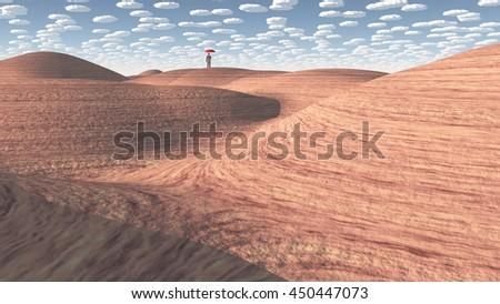 Man stands in rock desert 3D Render - stock photo