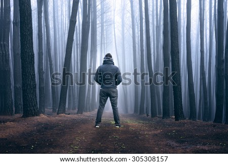 Man stares into the fog in a blackened forest - stock photo