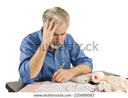 Man Stressed Over Taxes/ Tax Troubles/ Horizontal Shot On White - stock photo