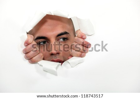 Man struggling to break free - stock photo