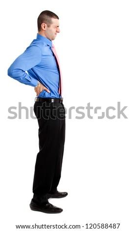 Man suffering for a backache full length - stock photo