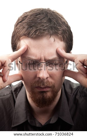 Man suffering from migraine or headache over white - stock photo