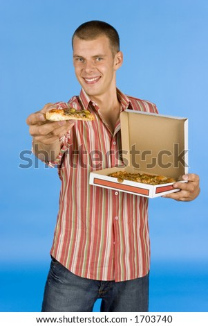 man suggests pizza - on the blue backgorund - stock photo