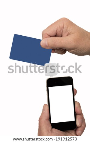 Man Swiping Credit/Debit Card At Angle Through Card Reader/ Vertical Shot/ Isolated On White - stock photo