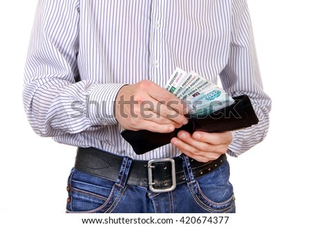 Man take out the Russian Currency from the Wallet Isolated on the White Background - stock photo