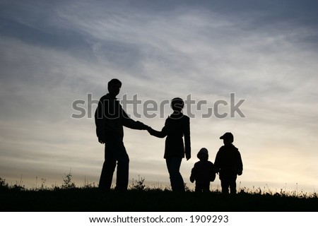 man take woman with two children. silhouette - stock photo