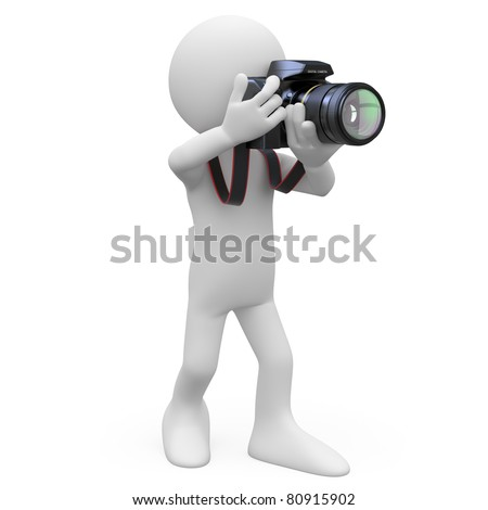 Man taking a picture with his SLR camera - stock photo