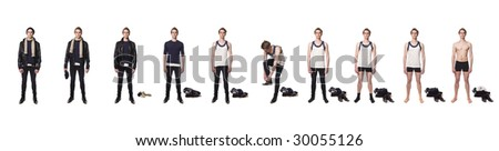 Man taking his clothes of step by step - stock photo
