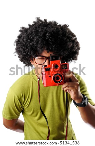 Man taking picture - stock photo