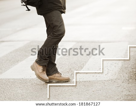 Man taking the next step in his career - stock photo