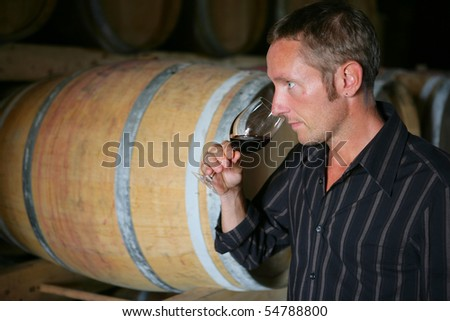 Man tasting a glass of wine - stock photo
