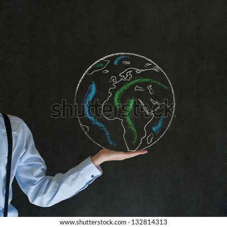 Man teacher, salesman, student or businessman with chalk world in the palm of your hand - stock photo