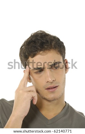 Man thinking about a problem- close up - stock photo