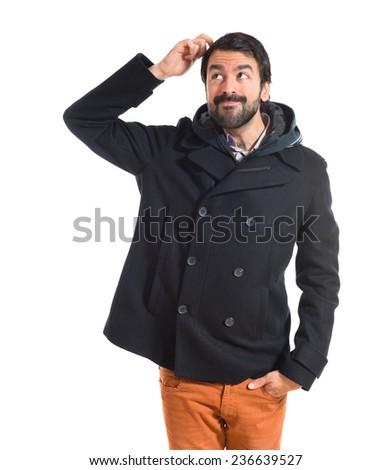 Man thinking over white background - stock photo
