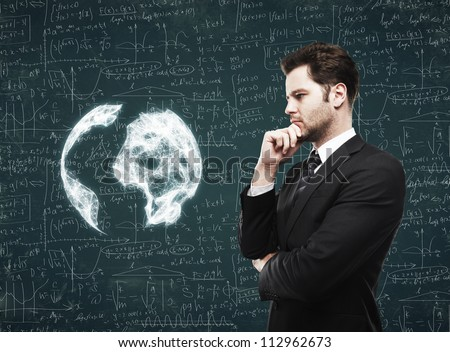 man thought the scientific concept - stock photo