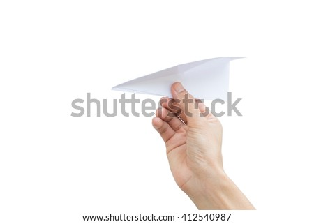 Man throwing a paper airplane/planes with right hand over white background - stock photo