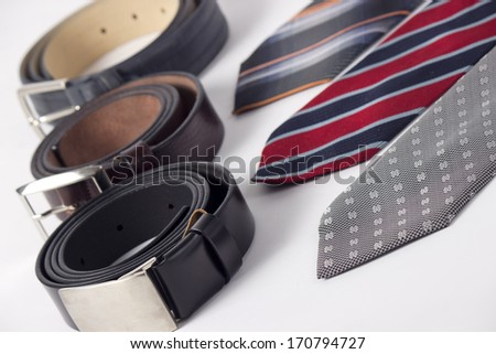 Man tie and belt isolated on white  - stock photo