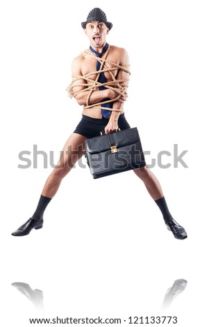 Man tied up with rope on white - stock photo
