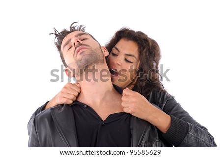 man to be bitten in the neck by a woman - stock photo