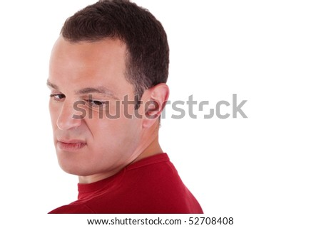 man to turn around, looking with contempt, isolated on white background. Studio shot. - stock photo