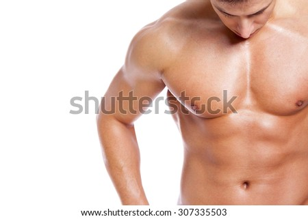 Man torso on white background - stock photo