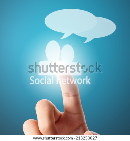 Man touch screen social networking,business - stock photo