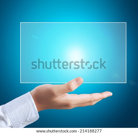 Man touch screen social networking, business - stock photo