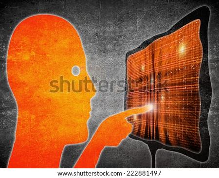 man touching touchscreen orange on black digital illustration - stock photo