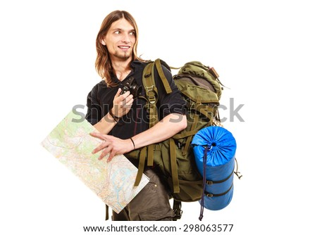 Man tourist backpacker taking photo picture with camera. Young guy hiker backpacking holding map. Isolated on white background. - stock photo