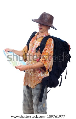 Man traveling with backpack and map, isolated on white background. - stock photo