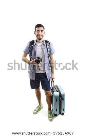 Man travelling with luggage and camera. Isolated on white background - stock photo