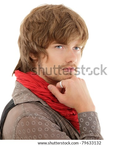 man trendy handsome isolated on white background - stock photo