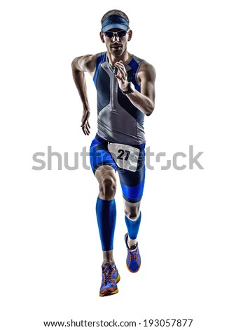 man triathlon iron man athlete runners running in silhouette on white background - stock photo