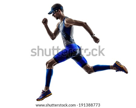 man triathlon iron man athlete runners running in silhouettes on white background - stock photo