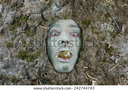 man under a bed of dust hygiene concept - stock photo