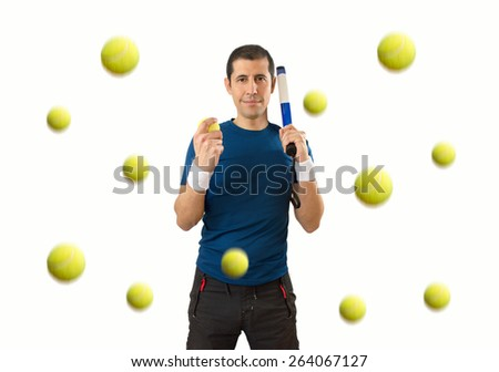 man under a llubia of ball paddle tennis with white background - stock photo