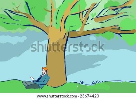 Man under the tree-Contemplation - stock photo