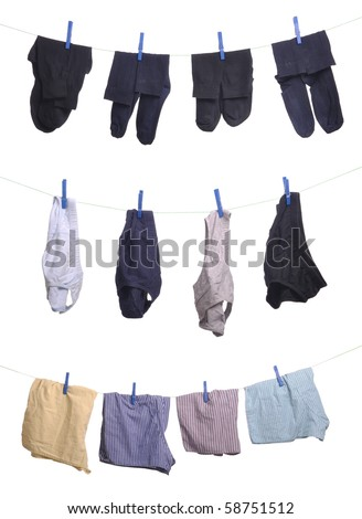 man underwear (socks, underpants, boxers) on a washing line (isolated on white background) - stock photo
