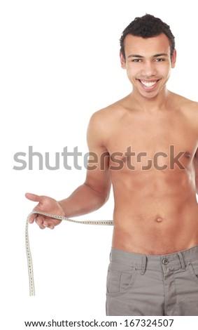 Man use measurement tape , isolated on white background - stock photo
