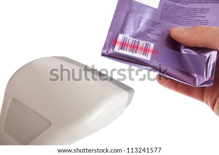 Man using a barcode scanner to scan a barcode on a product box using infrared isolated on white - stock photo