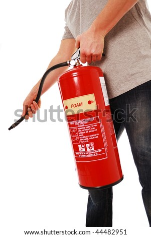 Man using fire extinguisher isolated on white - stock photo